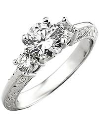 Damen Ring 0.90 Karat 14 Karat Weißgold Rund Diamant Damen 3 Stein Verlobungsring