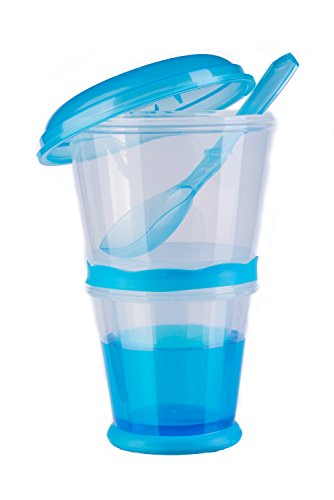 blupalu Müslibecher to go mit isoliertem Milch-Kühlfach Müsli-Fach & Löffel 2-go für unterwegs, blau