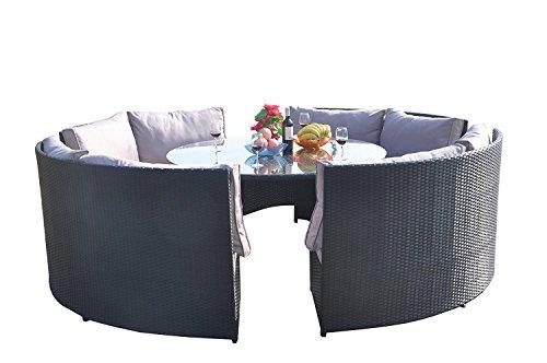 Schwarze Outdoor-esstisch (Yakoe Klassische Serie Wintergarten Outdoor 10 Sitzer Polyrattan Rund Esstisch Set, Schwarz, 171 x 66 x 89 cm)