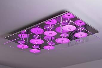 Plafonnier led rectangulaire avec changement de couleur et t l commande amaz - Plafonnier telecommande luminaire ...