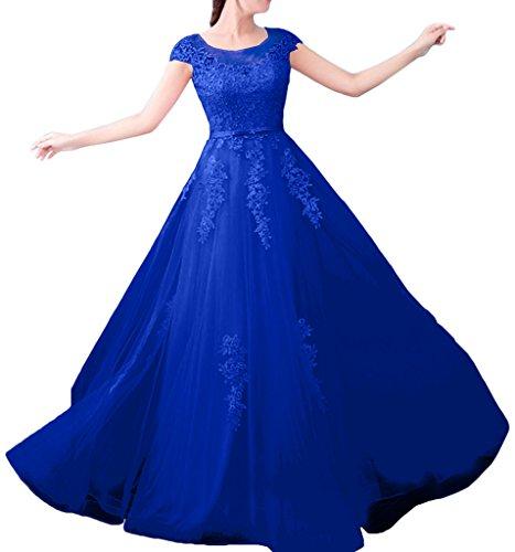La_mia Braut Damen Navy Blau Kurzarm Spitze Abendkleider Ballkleider Brautklieder lang A-linie Rock Royal Blau