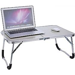 Zerone Table d'Ordinateur Multifonctionnelle, Table de Lit Pliable Portabe en Alliage d'Aluminium Table de Pique-Nique Blanche Verte (Blanc)