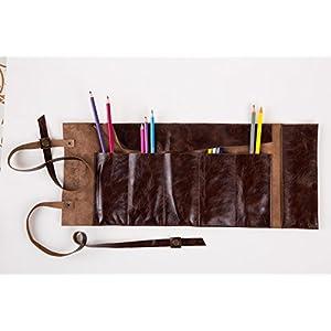 Dunkel Braun Leder Handgefertigt Mäppchen