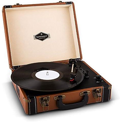 auna Jerry Lee Giradischi a valigetta vintage compatto e portatile (casse audio altoparlanti integrate, maniglia per trasporto, USB, MP3) - marrone