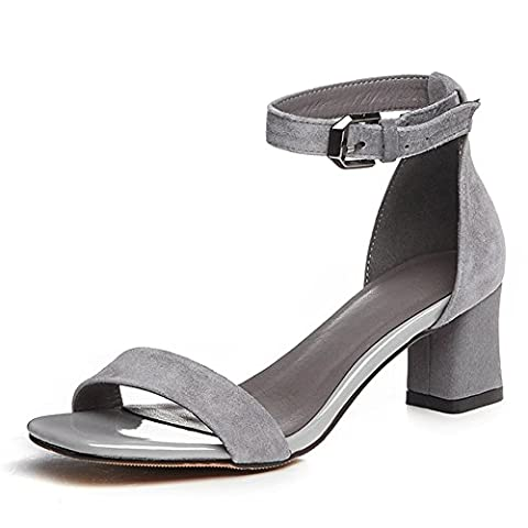 Women's Suede Leather Ankle Straps Strappy Block Heel Open Toe Dress Sandals Grey UK6