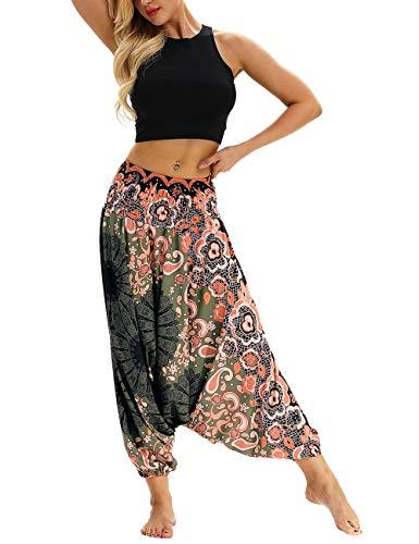 besbomig Damen Haremshose Beiläufig Lose Breites Bein Hippie Hose - Hohe Taille BohemienStil Tanzen Yoga Pilates Hosen - Wide-leg-reise-hose