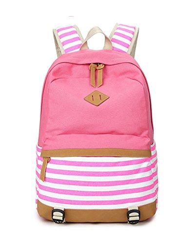 Mädchen Schulrucksack Teenager schultasche Damen Canvas Rucksack Outdoor Freizeit Daypacks Backpack Cityrucksack für Schüler Rosa