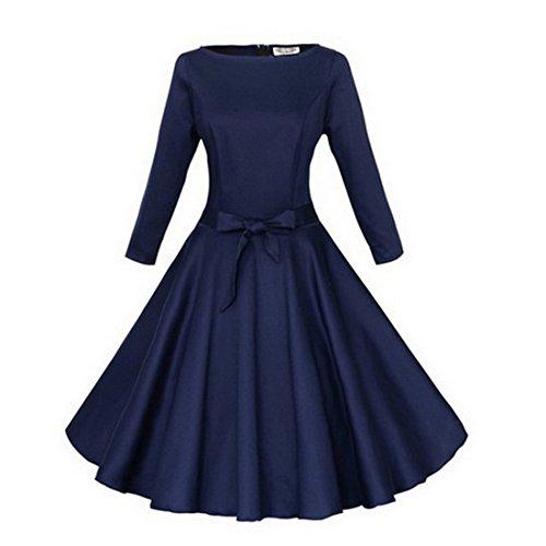 Vertvie damen Vintage 50er retro elegantes Sleeves Abendkleid Knielang Kleid Einfarbiges Audrey Hepburn Schwingen Partykleid Rockabilly Cocktailkleid mit Gürtel Schwarzblau