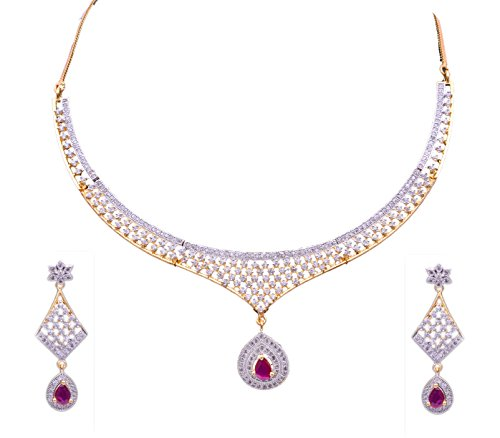 Sitashi Ad American Diamond Imitation Necklace Set For Women