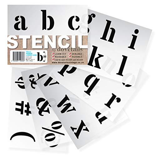 Buchstaben Schablone - Große Alphabet Schablonen Buchstaben/Symbole 5 cm hoch ROMAN kleinbuchstaben 6 x Blätter 20 x 14.8 cm ... -