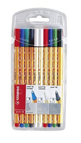 Fineliner mit löschbarer Tinte & Tintenkiller im Set - STABILO point 88 colorkilla/erasable - 10er Pack - 2 x grün, 2 x rot, 2 x blau, 2 x schwarz, 2 x Tintenlöscher