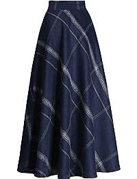 Frauen Gitter Woolen Langen Rock Damen Plaid Elastische Taille Rock  Schaukel Ausgestelltes Röcke Plissee… cd4be977b4