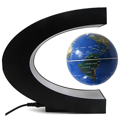 Preisvergleich Produktbild Megadream Globe 360°LED Light C Shape Magnetic Levitation Floating Globe World Map Anti Gravity Office Table Decorate, Mysteriously Suspended in Air World Map for Learning Education Teaching Home Office Desk Decoration Fathers day Christmas Gift (EU Wall Adapter, Blau(Blue))