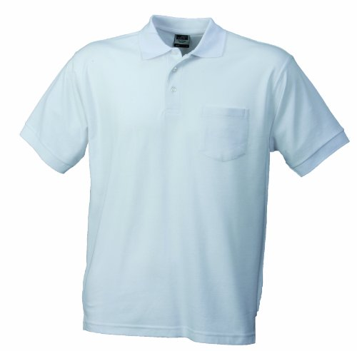 James & Nicholson Herren Poloshirt Polo - Pique - Pocket, Gr. X-Large, Weiß - Pocket Pique Polo-shirt