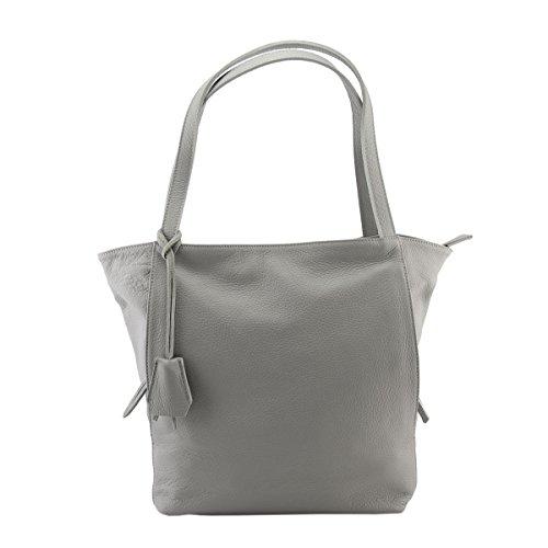 Dream Leather Bags Made in Italy Cuir Véritable Sac Shopper En Cuir Véritable Couleur Gris Clair - Maroquinerie Fait En Italie - Sac Femme