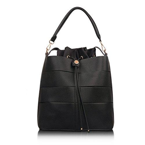 Damen Handtaschen Modische Handtaschen Schulter Diagonal Tasche Lässige Reißverschluss Elegante Umhängetasche Black