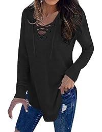 VJGOAL Mujer Primavera Moda Casual Color sólido Sexy Correa de Cuello en V Manga Larga Camiseta