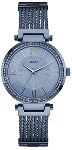 Guess Women's Quartz Watch with Blue Dial Analogue Display and Blue Stainless Steel Bracelet W0638L3