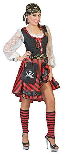 Piraten Kostüm Tolle - Das Kostümland Seeräuberin Peppina Piratin Kostüm für Damen Gr. 36 38 - Tolles Piraten Seeräuber Kostüm für Frauen zu Karneval und Mottoparty