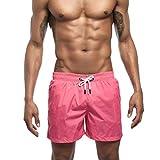 VRTUR Herren Badeshorts Swimming Trunks Beach Shorts Badehosen mit Tunnelzug Taschen für Surfen Sommer Hosen(Large(Taille: 74-82 cm),Rosa)