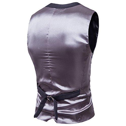 HerZii Herrenmode Slim Fit 3-teilige Business Suit Blazer Jacke & Hose Dunkelgrau