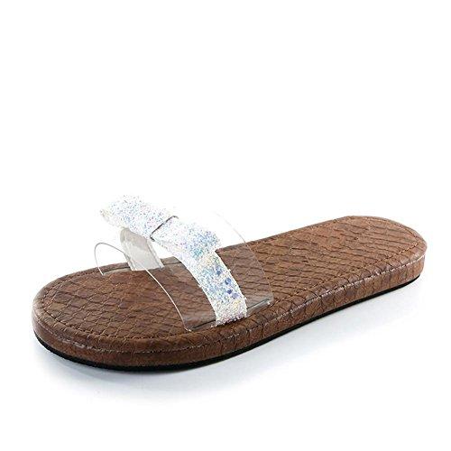 Damen Toe Sandalen Casual Sequins LDMB Hausschuhe Peep White Metall Mode gdOTqOw