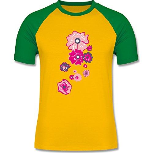 Blumen & Pflanzen - Blumen - zweifarbiges Baseballshirt für Männer Gelb/Grün