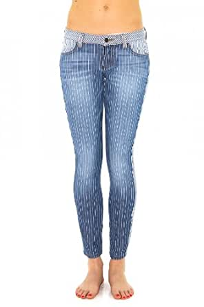 Jeans slim siwy hannah, patchwork denim