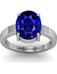 Jaipurforyou Certified Blue Sapphire (Neelam) 3.00cts or 3.25 ratti silver ring