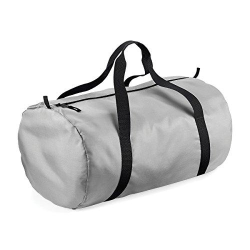 BagBase wasserdichte Tasche fur Reisen Packaway Barrel Tasche 50x30x26cm 32L Feiertags-Taschen Silver/ Black