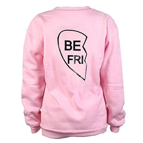 Schwester Bekleidung Bluestercool Frauen BEST FRIEND Brief drucken Langarm Pullover (L, Pink (BE FRI)) (Anzug Rock Falten)