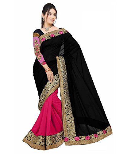 Koroshni sarees for Women Embroidered Black And Orange Half And Half Georgette Saree With Blouse Material  available at amazon for Rs.399