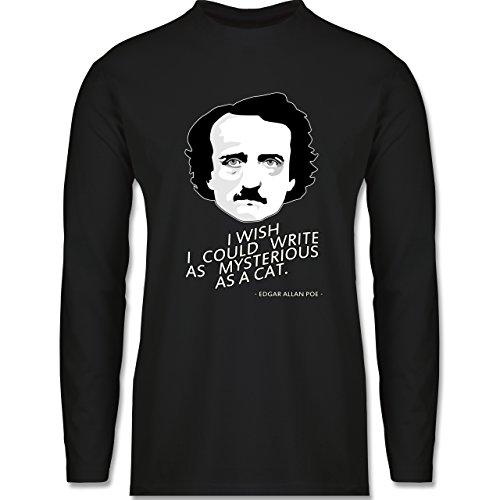 Shirtracer Statement Shirts - Edgar Allan Poe - I Wish I Could Write As Mysterious As a Cat - Herren Langarmshirt Schwarz