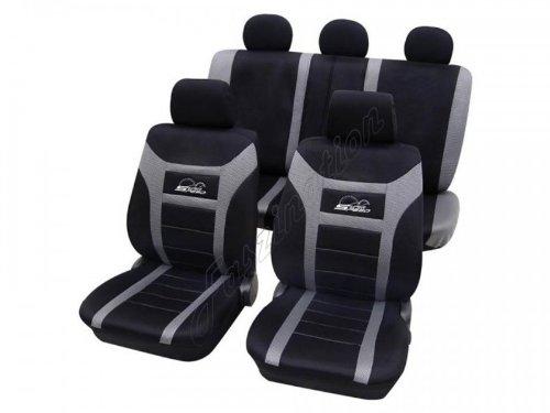 Coprisedili per auto, set completo, Peugeot 106 ohne Seitenairbag, nero grigio