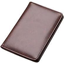67fa15d5f Billetera de Cuero Corta con Pasaporte para Tarjeta de Pasaporte para  Hombres Cartera de Piel Carteras