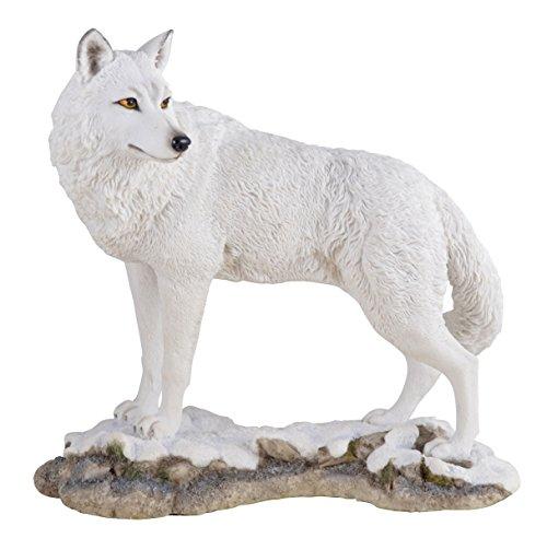 Polarwolf im Schnee Figur Deko Dekoration Wolf Tierfigur Skulptur
