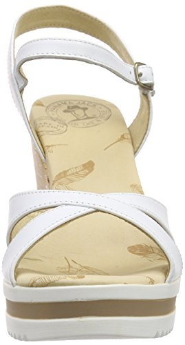 Panama Jack Estrella, Sandales Bout Ouvert Femme Blanc (White Napa)