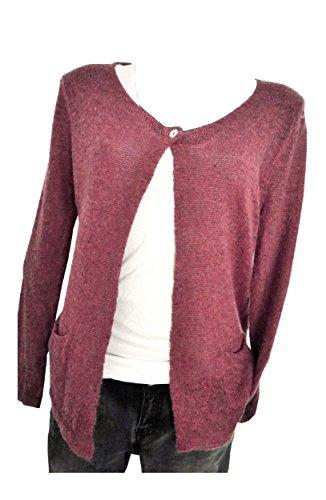 Feminine Damen Feinstrickjacke Cardigan Weste mauve beere rosa Einheitsgröße passend für S M 36 38 40 (919)