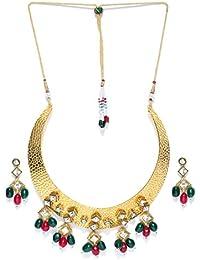 Zaveri Pearls Gold-Toned Hasli Kundan Necklace Set For Women-ZPFK6583