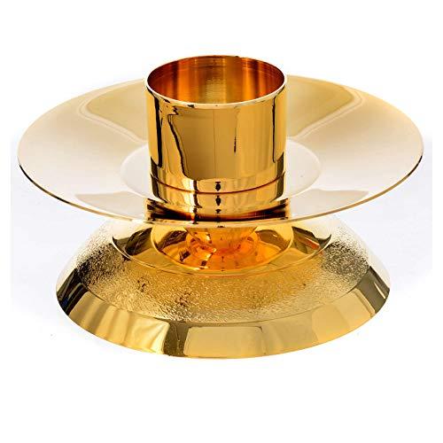 Holyart Chandelier d'autel Laiton doré Base cannelée
