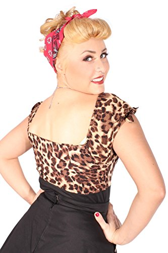 Leoparden Rockabilly pin up Leo Cherry Puffärmel Kirschen Carmen Shirt TOP -