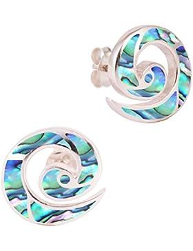 DTPsilver - Damen - Ohrringe 925 Sterling Silber und Abalone Paua Muschel Ohrstecker - Spirale