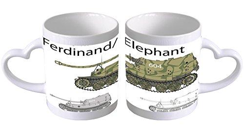 LEotiE SINCE 2004 Kaffeetasse mit Herzgriff Kaffeebecher Becher Tasse Mit Fotodruck Fototasse Militär Panzer Ferdinand Herz Griff