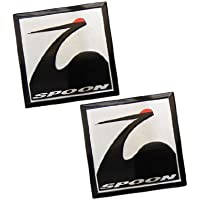 2 x (Pair/Set of 2) SPOON SPORTS SQUARE Emblem Badge Nameplate Decal Rare for Honda Acura Type R Type-r TYPE-S S GT Civic Integra Si CRZ CRX GSR Prelude ...