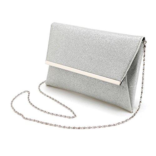 Malloom® Frauen Dame brautparty Abend Abschlussball Umschlag Pailletten Handtasche Handtasche weiß (Braut-abschlussball-abend-handtaschen)