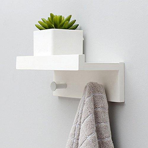 TAO Wohnzimmer Wand Holz Regal kreative Partition Wand-Haken Badezimmer Handtuchhalter dekorative Rahmen Kleiderhaken (Farbe: Holz Farbe, schwarz, weiß) ( Farbe : Weiß , größe : 2 hooks ) (2 Regal Wohnzimmer Regal)