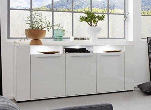 trendteam smart living Wohnzimmer Sideboard Schrank Wohnzimmerschrank Jump, 165 x 87 x 39 cm in Korpus Weiß, Front Weiß Glanz mit viel Stauraum und drei offenen Fächern