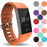 Yousave Accessories® Fitbit Charge 3 Armband, Silikon Ersatzarmband für Fitbit Charge3 Fitness Tracker, Sport Schrittzähler Armband, Fitbit Charge 3 Armbänder - Groß - Orange