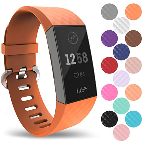 Yousave Accessories® Fitbit Charge 3 Armband, Silikon Ersatzarmband für Fitbit Charge3 Fitness Tracker, Sport Schrittzähler Armband, Fitbit Charge 3 Armbänder - Klein - Orange -