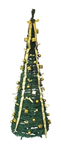 Fachhandel Plus Künstlicher Weihnachtsbaum in 60 Sekunden aufgebaut - Christbaum fertig in Gold geschmückt - Tannenbaum Tanne grün - Dekobaum Höhe 190 cm - inkl Ständer